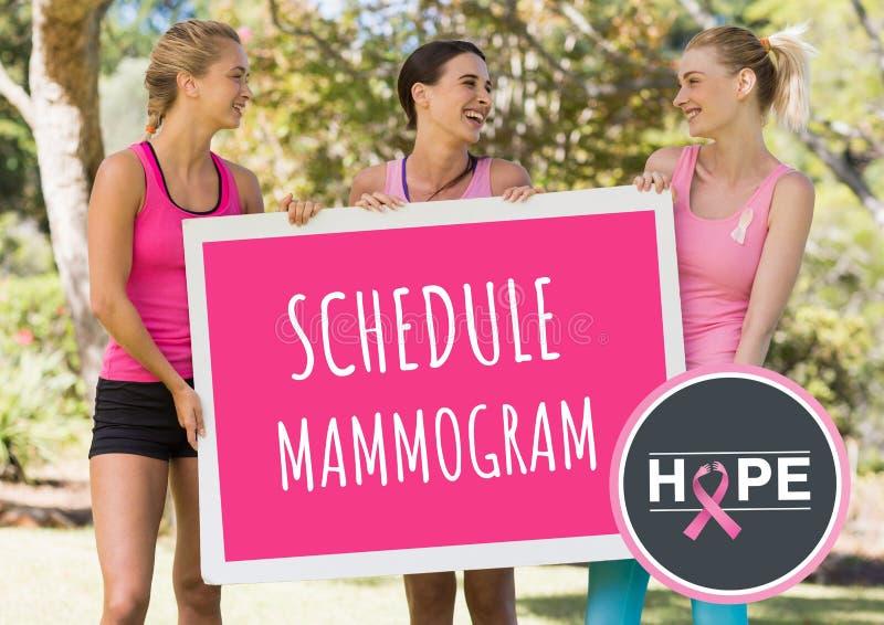 Legen Sie das Mammogramm und rosa Brustkrebsbewusstseinsfrauen fest, die Karte halten lizenzfreie stockbilder