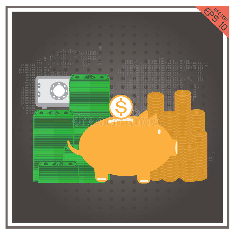 Legen Sie Dollarvektor von sicherer piggy Satzbank mit goldener Münze Isolat nieder lizenzfreie abbildung