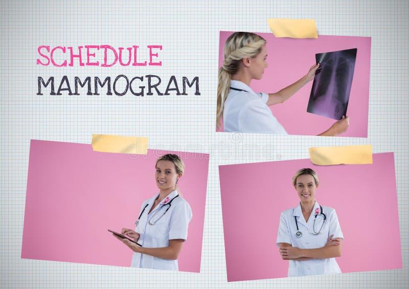 Legen Sie Mammogramm Text und Brustkrebs-Bewusstseins-Foto-Collage fest stockfotos