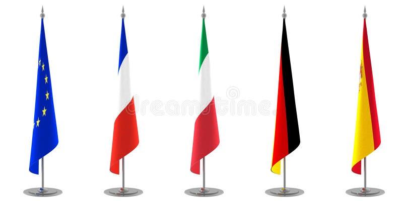 Legen Sie Markierungsfahnen-Ansammlung Europa ver stock abbildung