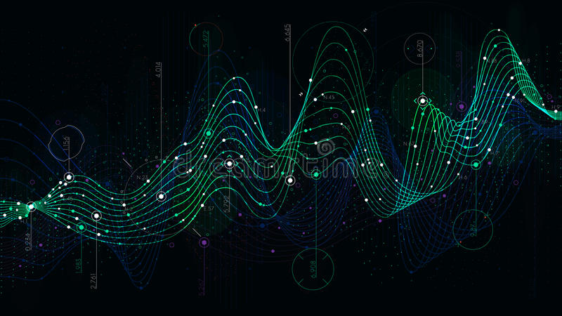 Legen Sie Statistikdaten, analytischen Indikatorsciencefictionshintergrund fest stock abbildung