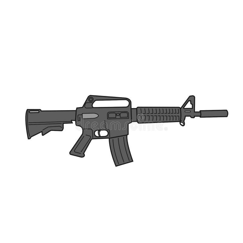 Legendäre Vektorillustration des Sturmgewehrs M-16 Flaches Design der klassischen Bewaffnung lizenzfreie abbildung
