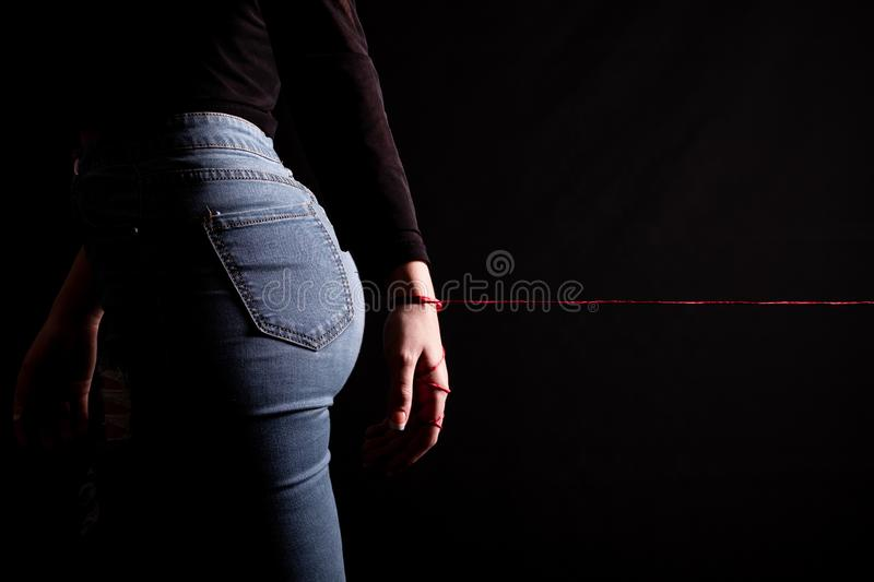 Legend red thread of love stock photography