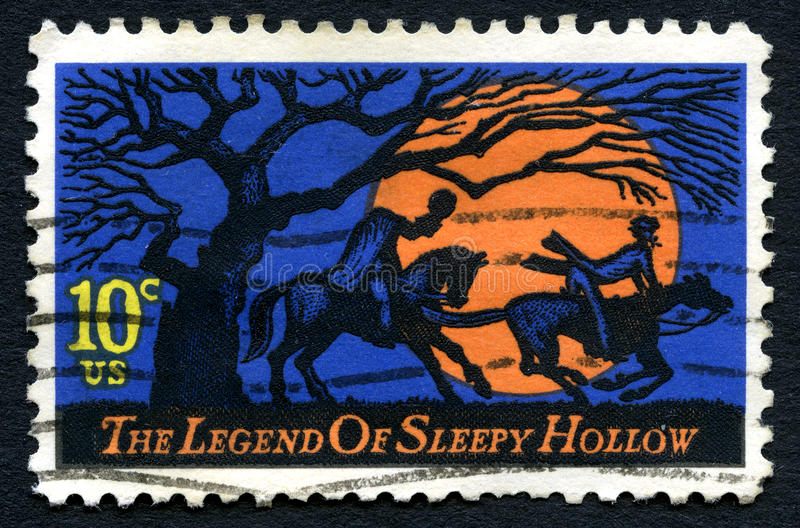 Legend of Sleepy Hollow USA Postage Stamp. UNITED STATES OF AMERICA - CIRCA 1974 - A used postage stamp from the USA, dedicated to The Legend of Sleepy Hollow by stock image