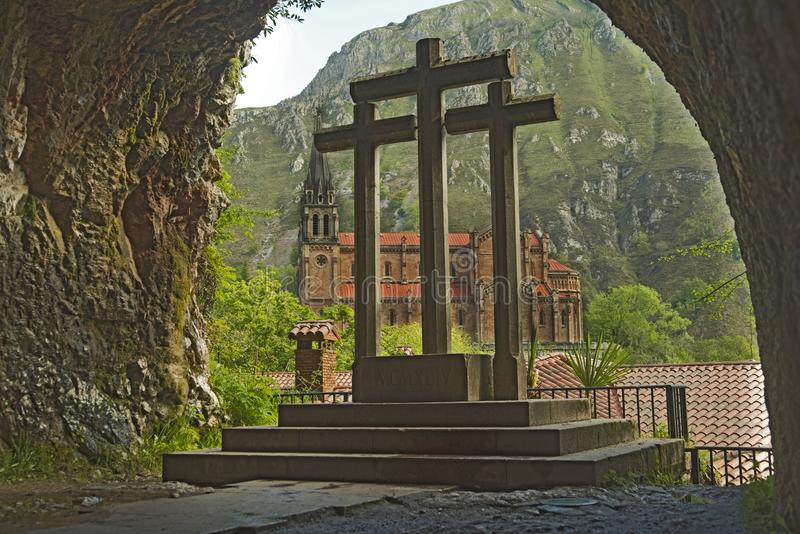 Holy cave, Our lady of Covadonga Cave, Asturias, Spain. Legend syas that in this cave Our lady of Covadonga appears to Pelagius. Battles of the Kingdom of royalty free stock image