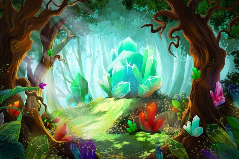 Legenda Diamentowy i Krystaliczny las ilustracja wektor