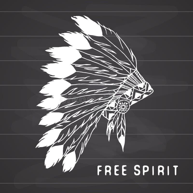 A legenda tribal no estilo indiano, a mantilha tradicional do nativo americano com penas de pássaro e os grânulos Vector a ilustr ilustração stock