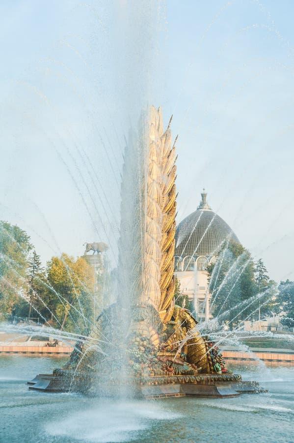 Legendarisch Sovjetfontein` Zolotoy Kolos ` Gouden oor Moskou, Rusland royalty-vrije stock afbeelding