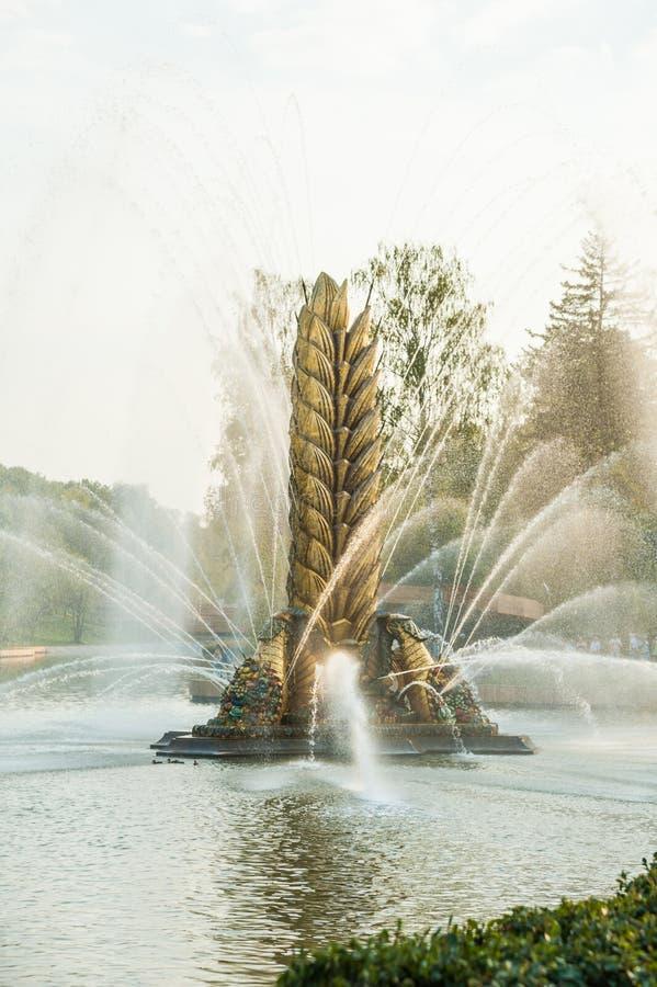 Legendarisch Sovjetfontein` Zolotoy Kolos ` Gouden oor Moskou, Rusland royalty-vrije stock foto's