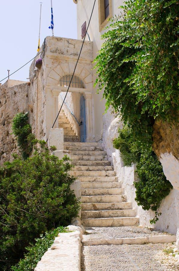 Legendarische treden van Chrisoskalitissa-Klooster, Kreta royalty-vrije stock afbeeldingen