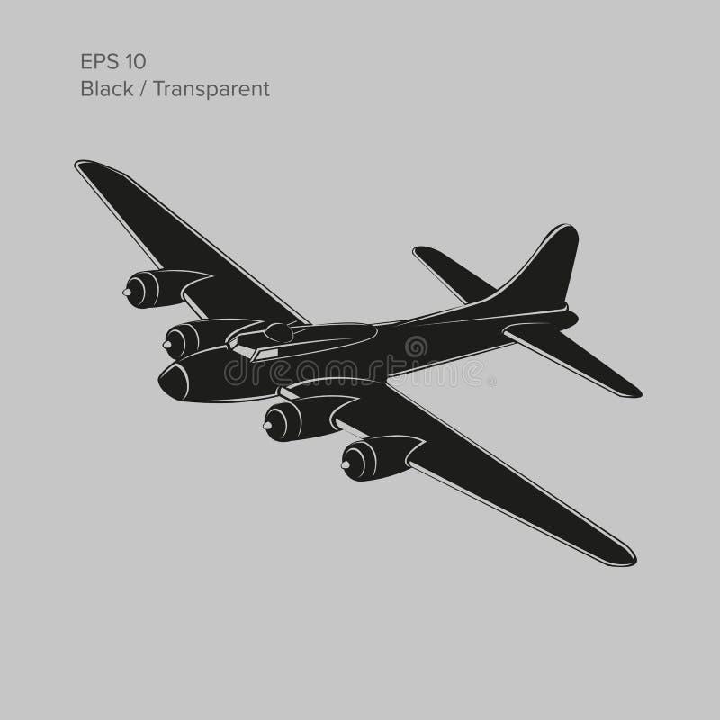 Legendarisk tung bombplan för tappningvärldskrig 2 Gammalt retro framdrivit tungt flygplan för pistongmotor vektorillustrationsym vektor illustrationer