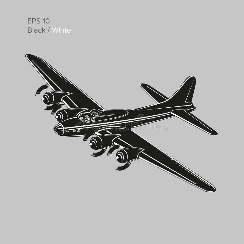 Legendarisk tung bombplan för tappningvärldskrig 2 Gammalt retro framdrivit tungt flygplan för pistongmotor också vektor för core vektor illustrationer