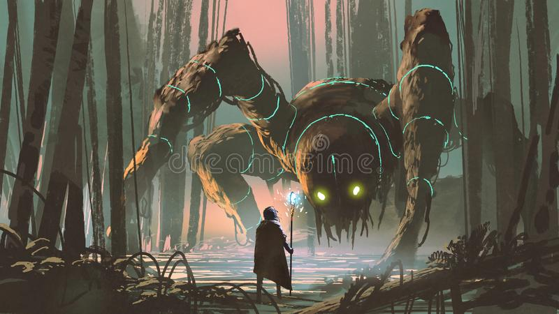 Legendary creature of dark forest. Young wizard with magic staff and giant creature looking at each other in the forest, digital art style, illustration painting vector illustration