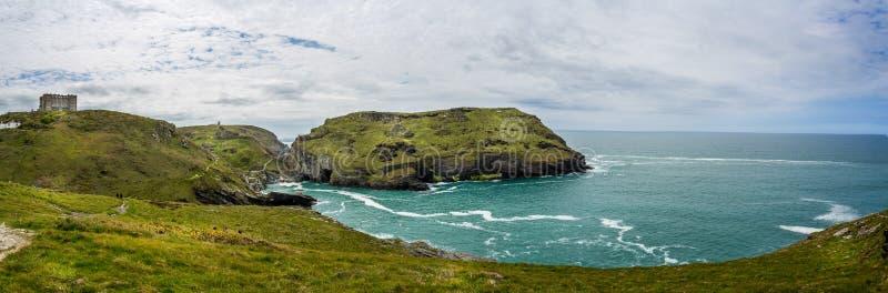 Legendary King Arthur castle ruins and dramatic coastline at Tintagel, Cornwall, UK royalty free stock photo