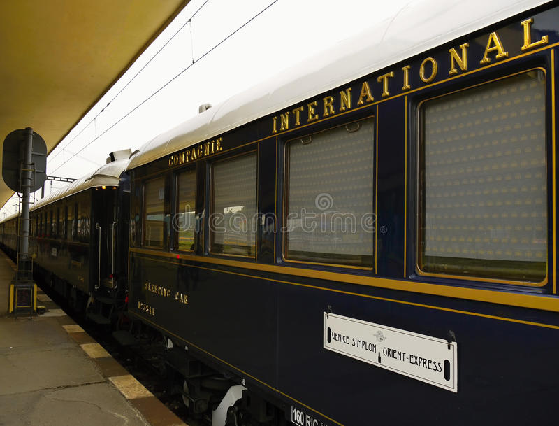 Legendary Orient Express Train, Inter City. The legendary Ottoman - Orient-Express Train in Prague-Smichov Station, Czech republic. Taken on May 21th, 2015 stock photos