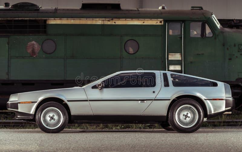 Legendary stainless steel DeLorean DMC-12 car stock images