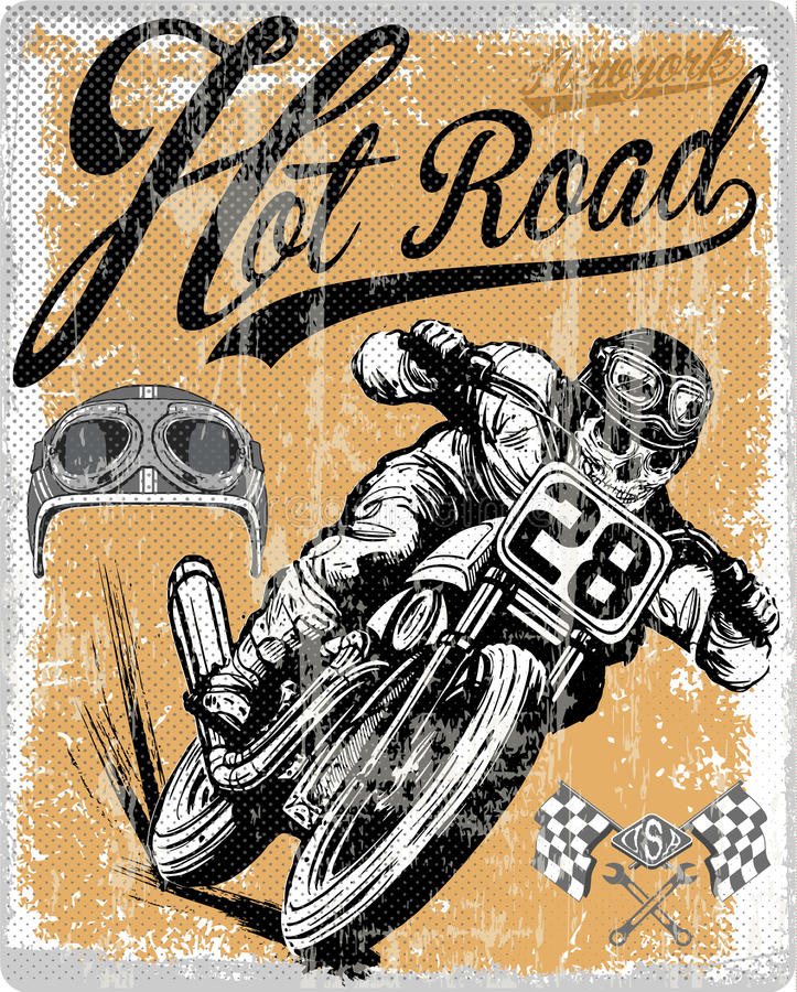 Legendary vintage racers t-shirt label design with racer. And motorcycle hand drawn ilustration fashion style stock illustration