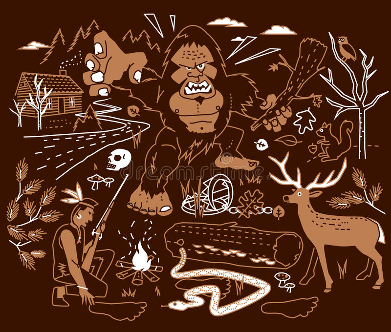 Legenden av Bigfoot royaltyfri illustrationer
