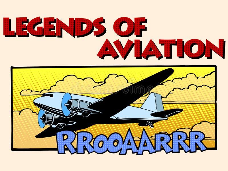 Legenden van luchtvaart abstract retro vliegtuig vector illustratie