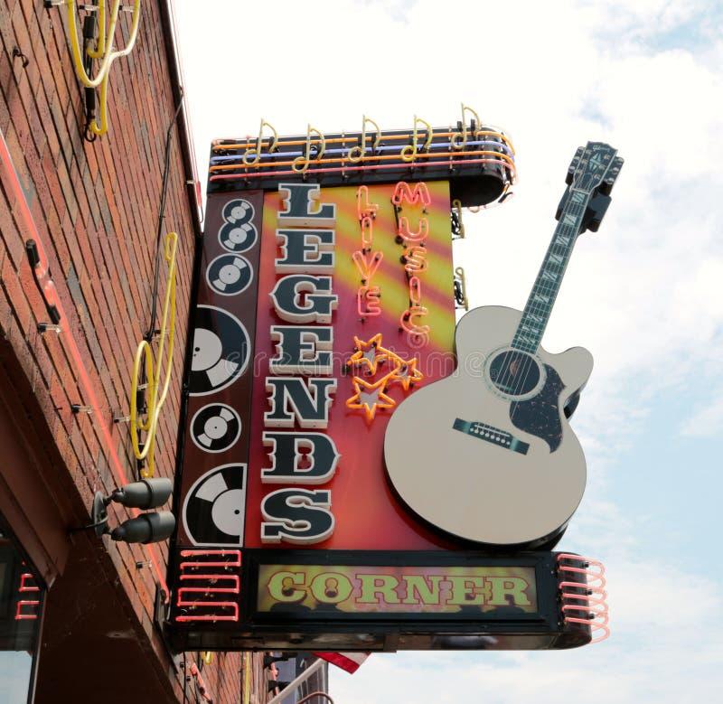 Legender Live Music Corner Downtown Nashville arkivfoto