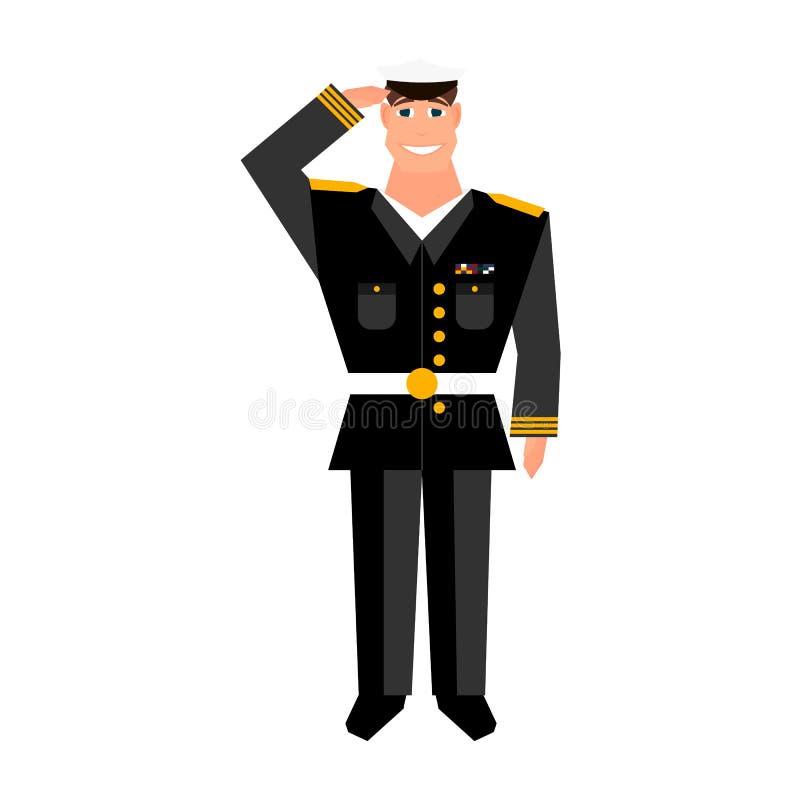 Leger algemeen met handgebaar het groeten Gelukkig het ontwerpelement van de veteranendag royalty-vrije illustratie