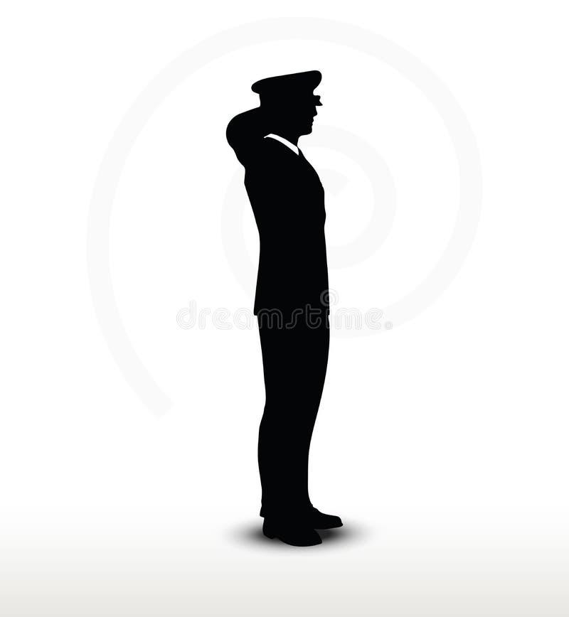 Leger algemeen silhouet met handgebaar het groeten stock illustratie