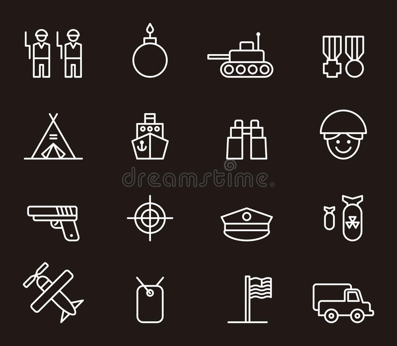 Leger en militaire pictogrammen stock illustratie