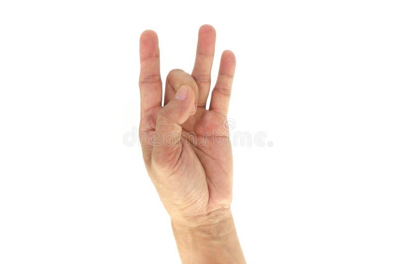 Leger/Mep signaleert de Tactische Hand/Signaal: 8 acht geïsoleerd op witte achtergrond royalty-vrije stock foto