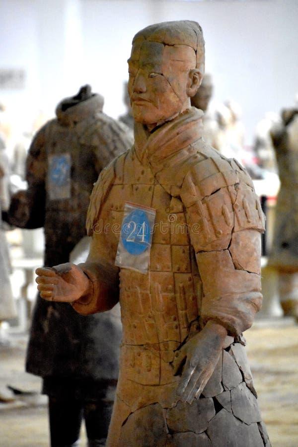 Leger van Terracottastrijders en Paarden, Xian, China stock foto's