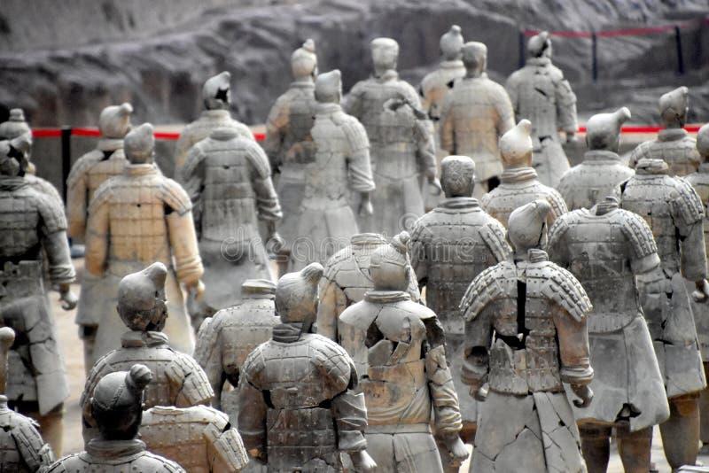 Leger van Terracottastrijders en Paarden, Xian, China stock afbeeldingen