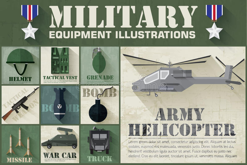 Legerconcept militaire uitrusting vlakke pictogrammen royalty-vrije illustratie