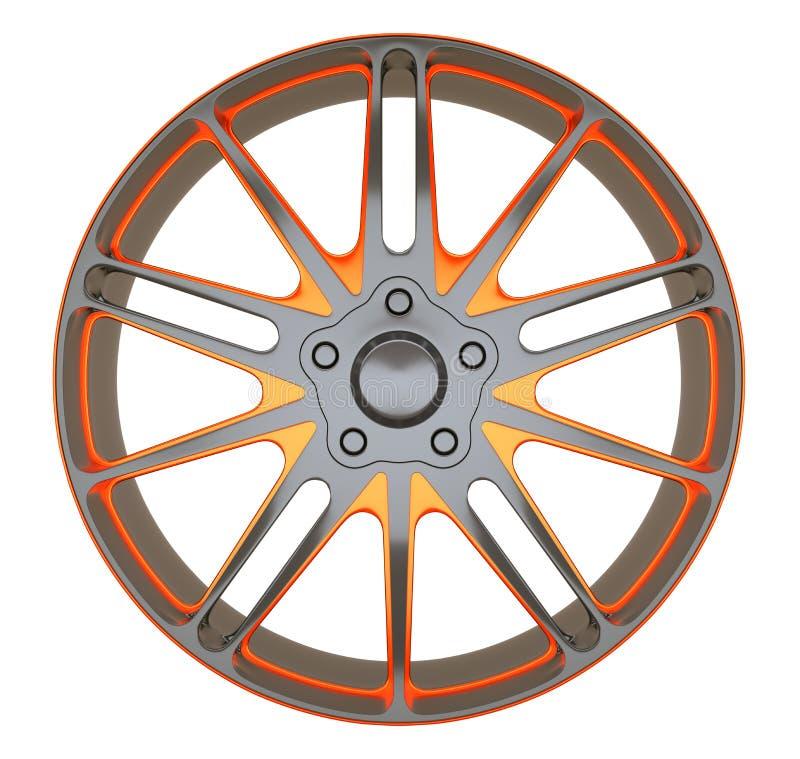 Legeringswiel of schijf van geïsoleerde sportwagen stock illustratie