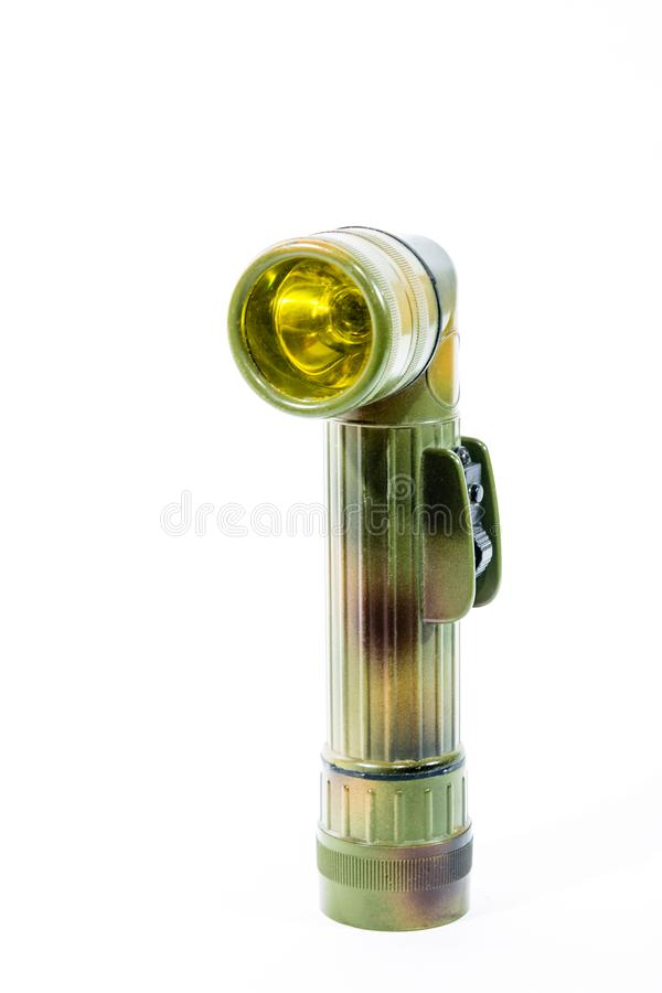 Legerlantaarn met gele lichte filter stock foto