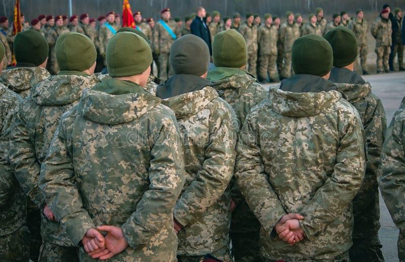 Legerparade, militaire eenvormige militairrij maart royalty-vrije stock foto's