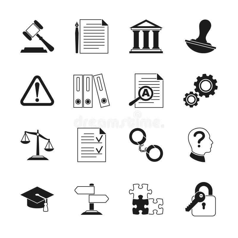Legge che si consulta, icone legali di vettore di conformità illustrazione vettoriale