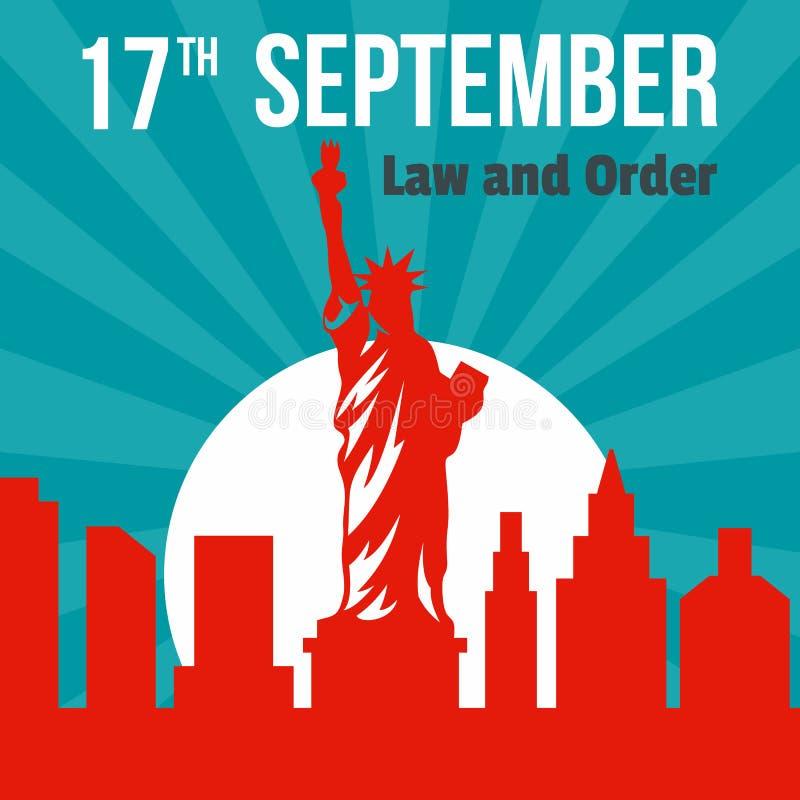 Legge e ordine fondo del 17 settembre, stile piano illustrazione vettoriale