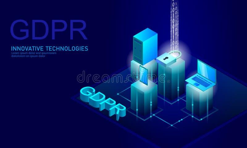 Legge GDPR di protezione dei dati di segretezza Unione Europea dello schermo di sicurezza di informazione sensibile di regolament illustrazione vettoriale