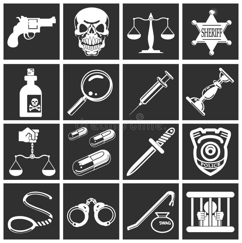 Legge, ordine, polizia ed icone di crimine illustrazione di stock