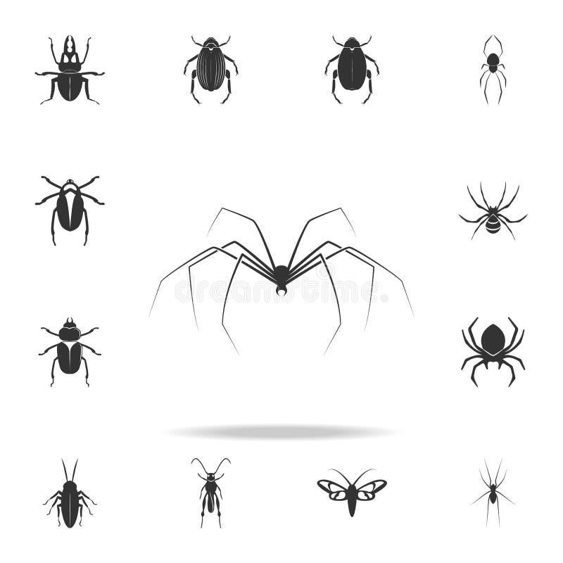 legged длинний спайдер Детальный комплект значков деталей насекомых Наградной качественный графический дизайн Один из значков соб бесплатная иллюстрация