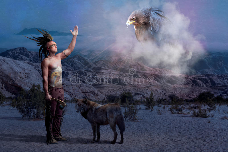 Leggenda indiana americana con il lupo e l'aquila