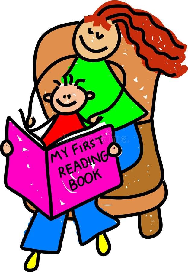 Leggendo con la mummia royalty illustrazione gratis