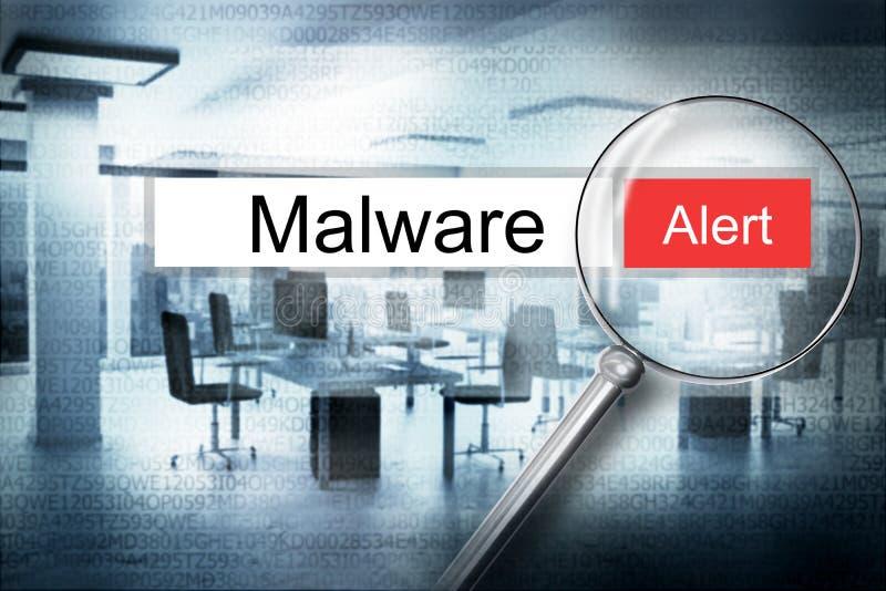 Leggendo il browser di malware di parola cerchi l'allarme di sicurezza 3D Illust illustrazione di stock