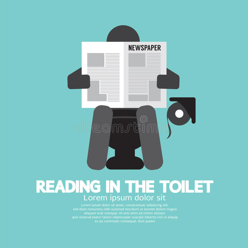 Leggendo nel simbolo della toilette illustrazione di stock