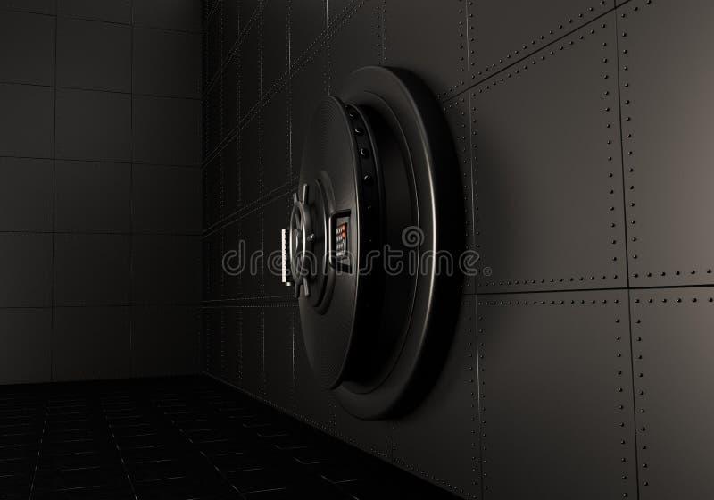 Leggermente apra la porta della cassaforte 3d rendono illustrazione di stock