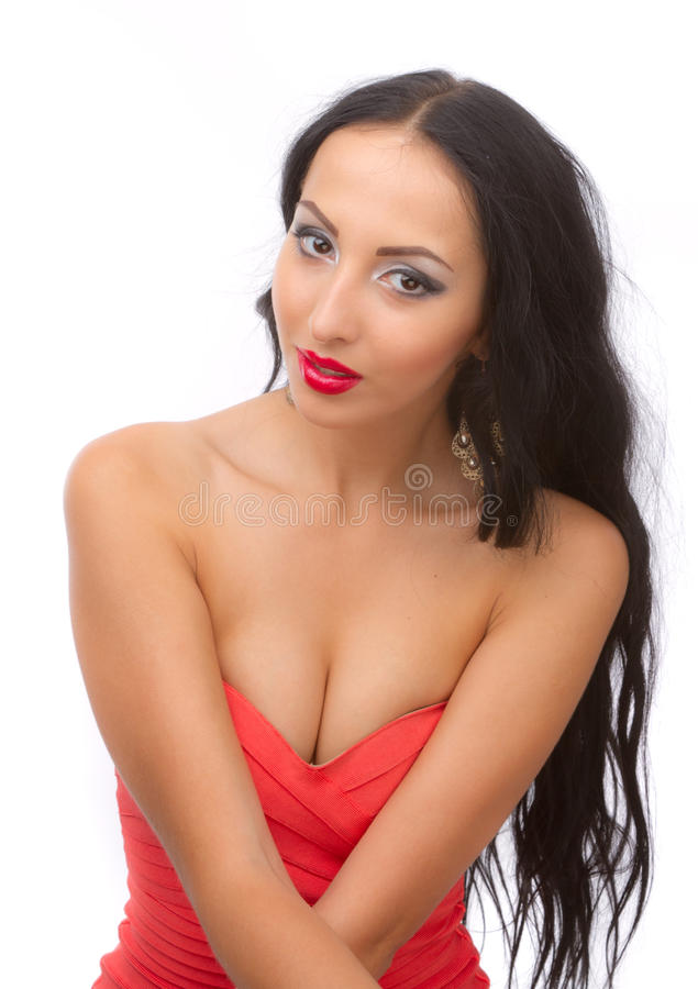 Download Leggy Brunette In A Red Dress Stock Image - Image: 25570229