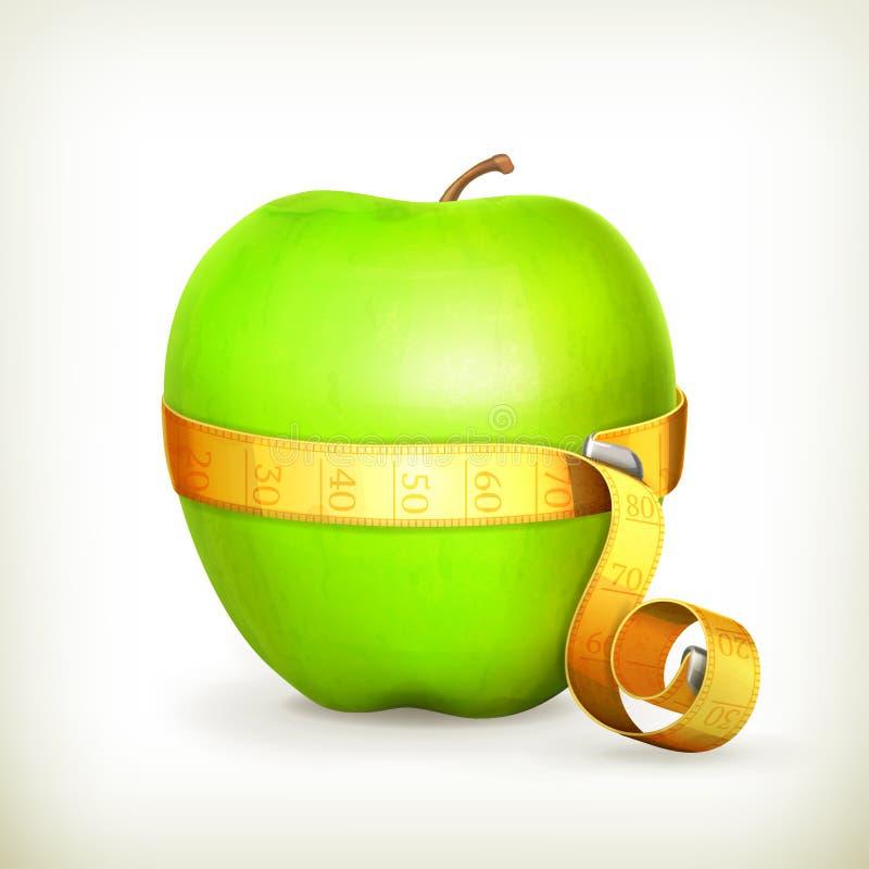 Leghi la misura e la mela con un nastro verde illustrazione di stock