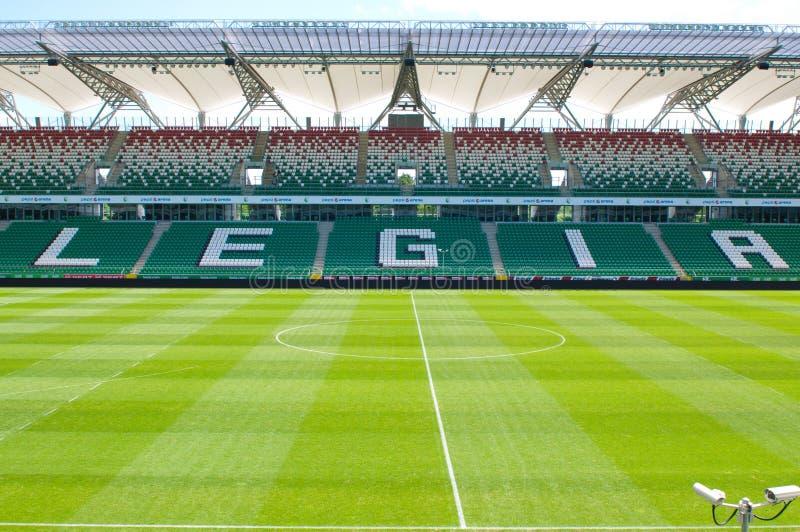Legia华沙空的橄榄球场 库存照片