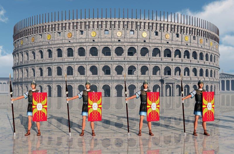 Legionärer och Colosseum i forntida Rome royaltyfri illustrationer