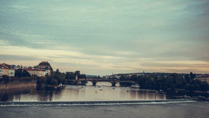 Legion Bridge is granite bridge on Vltava river in Prague.  stock image