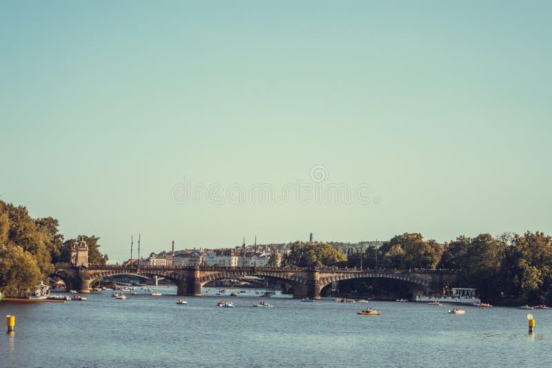 Legion Bridge is granite bridge on Vltava river in Prague.  royalty free stock photos